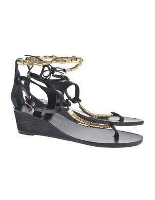Ancient Greek Sandals Chrysso Wedge Black Gold