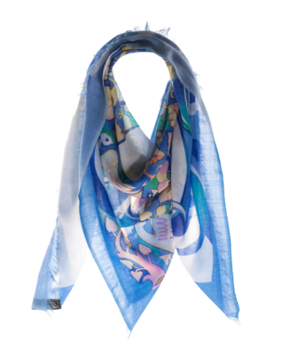 ALBEROTANZA Light Pashmina Miro Blue White