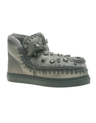 MOU Eskimo Sneaker Rhinestone Pearl Nappa Gunmetal