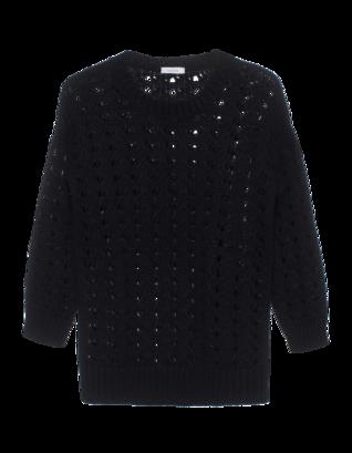 LEETHA Holes Cashmere Sweater Black