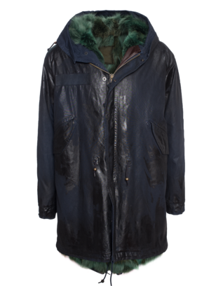 MR & MRS ITALY Waxed Parka Patch Coyote Blue
