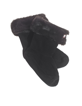 HUNTER Short Furry Welly Panther Black
