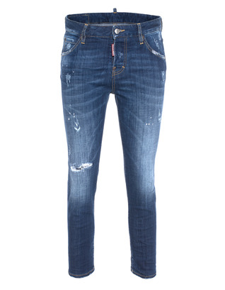 DSQUARED2 Cool Girl Cropped Jean Long Crotch Blue
