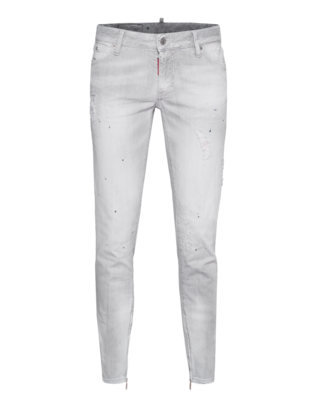 DSQUARED2 Cool Girl Jean Used Zip Light Grey