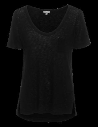 SPLENDID Slub V-Neck One Pocket Black