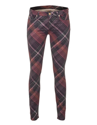 SEVEN FOR ALL MANKIND The Skinny Checkered Print Red