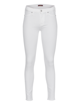 7 FOR ALL MANKIND High Waist Skinny Crop White