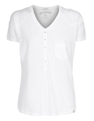 TRUE RELIGION Wings Group Buttonfly Crew White