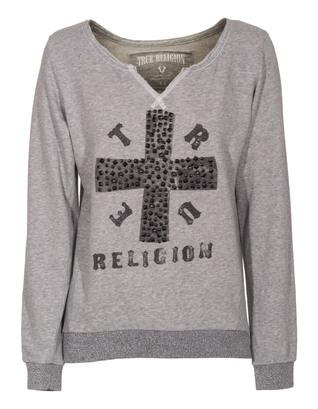 TRUE RELIGION Cross Boxy Heather Grey