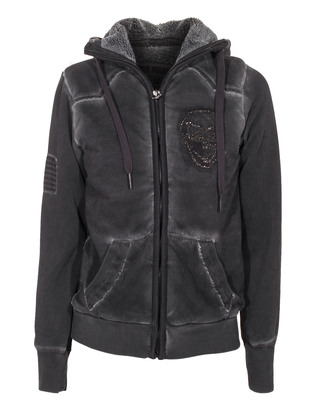 TRUE RELIGION Hooded Skull Jet Black