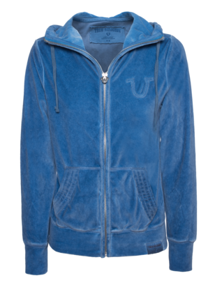 TRUE RELIGION Hooded Zip Velvet Coronetblue