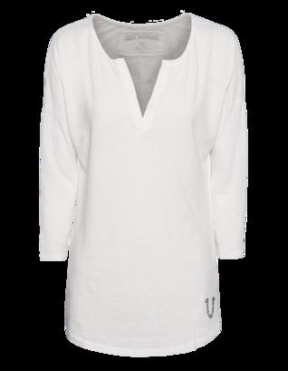 TRUE RELIGION Cotton Linen Tunic Off-White