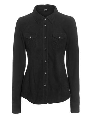 TRUE RELIGION Leather Shirt Goat Black