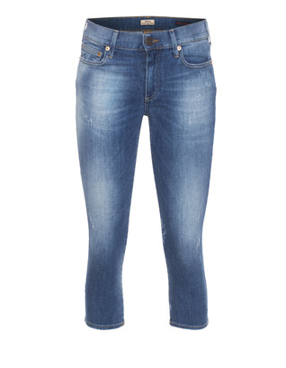 TRUE RELIGION Halle Super Skinny Cropped Aged Indigo