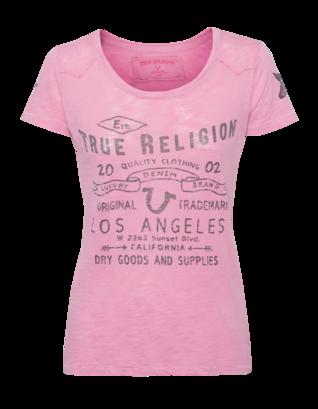 TRUE RELIGION Crew Relax Burn Pink