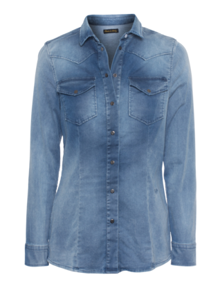TRUE RELIGION Danielle Western Shirt Washed Blue