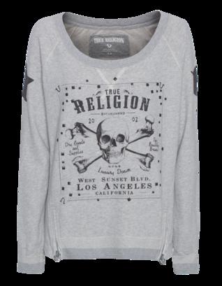 TRUE RELIGION Skull Star Zips Heather Grey