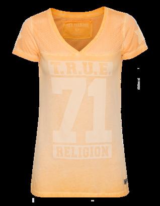 TRUE RELIGION V Neck T Crew Tangerine