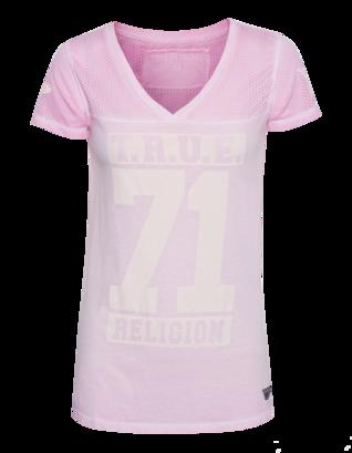 TRUE RELIGION V Neck T Crew Rose
