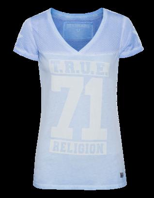 TRUE RELIGION V Neck T Crew Sky Blue