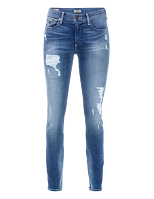 TRUE RELIGION Halle Mid Rise Super Skinny Dusty Blue