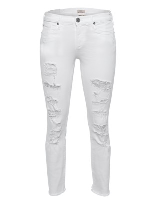 TRUE RELIGION Mid Rise Straight Cora Crop Optic White