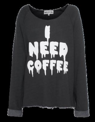 WILDFOX I Need Coffee Morning Dirty Black