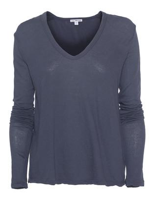 JAMES PERSE Crepe Jersey Soft V-Neck Titan Blue