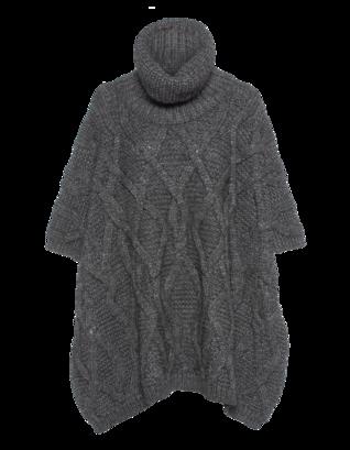 WOOLRICH Cable Alpaca Turtleneck Grey