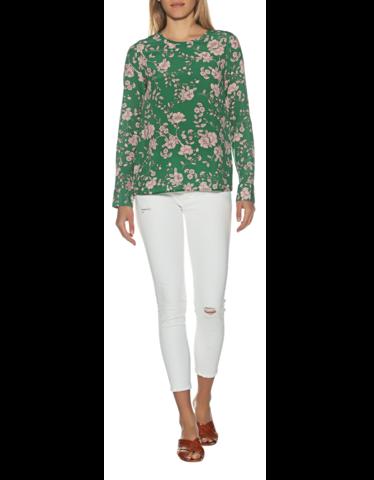 Seiden-Langarm-Bluse mit Blüten-Print