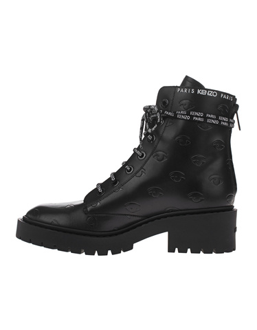21719173a5 KENZO Pike Lace Up Black Leather boots with all-over pattern - Boots ...