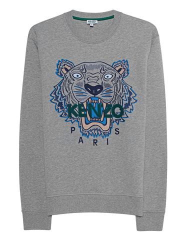 74532baad2 KENZO Sweater Tiger Grey Sweatshirt with logo embroidery - New Arrivals