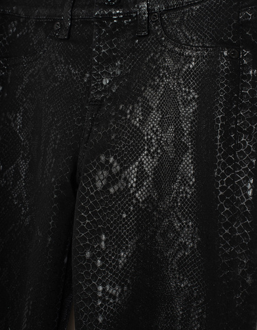 The Skinny Coated Snakeskin Black