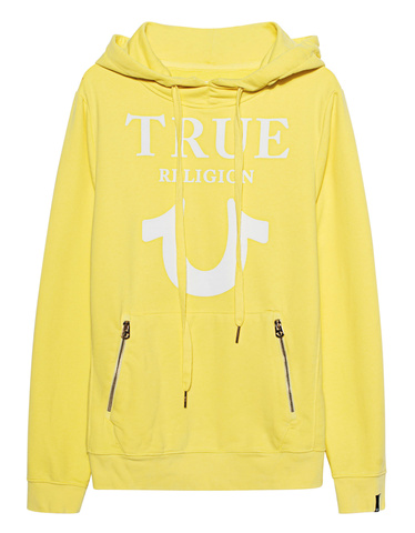 TRUE RELIGION Hoodie Puffy Yellow Printed Hoodie with