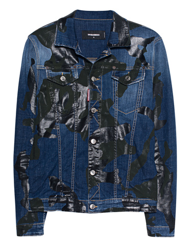 19266bfc9f992 DSQUARED2 Camo Denim Blue Denim jacket with camouflage print ...
