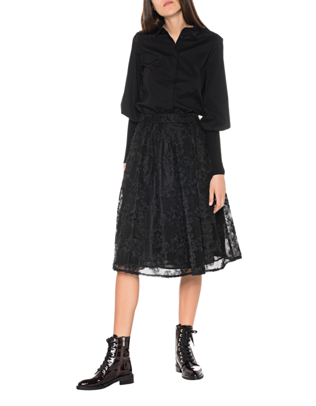 94558b37238c0d STEFFEN SCHRAUTSleeve Detail Black    Blouse with knitted cuffs