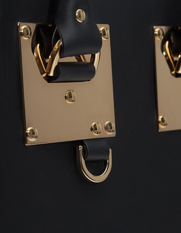 sophie hulme mini albion saddle black leather tote bag bags purses. Black Bedroom Furniture Sets. Home Design Ideas