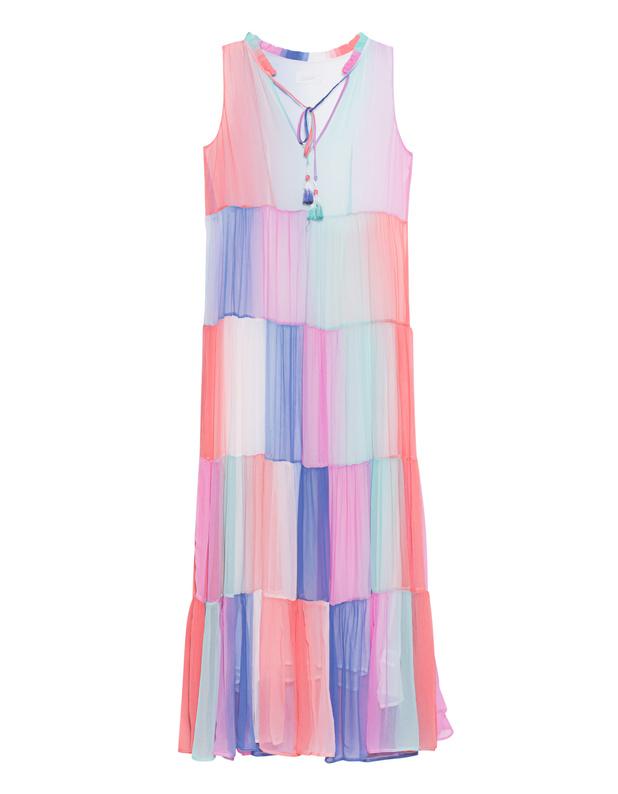 Artikel klicken und genauer betrachten! - Maxi-Kleid Sommerliches ärmelloses Maxi-Kleid im geraden Schnitt aus einem locker fließenden Material in Regenbogenfarben, tiefem V-Ausschnitt mit langen Bändern mit Quasten-Detail und verspielten Rüschen am Kragen.  Perfekt um die ersten Sonnenstrahlen einzufangen - immer sophisticated und dennoch lässig! | im Online Shop kaufen