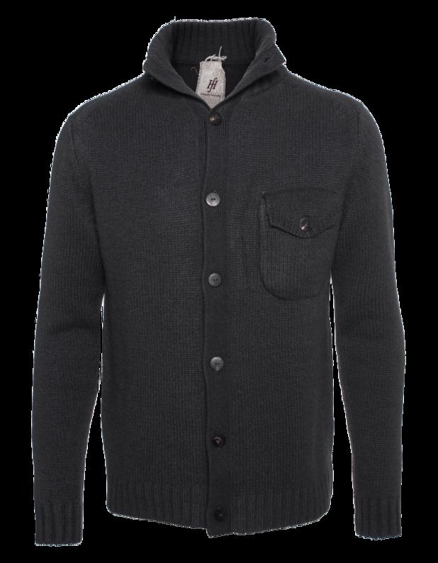 Mens Guide Cardigan Grey Flannel