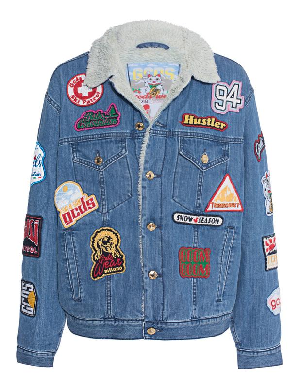 gcds patches denim jeansjacke mit patches jacken m ntel. Black Bedroom Furniture Sets. Home Design Ideas
