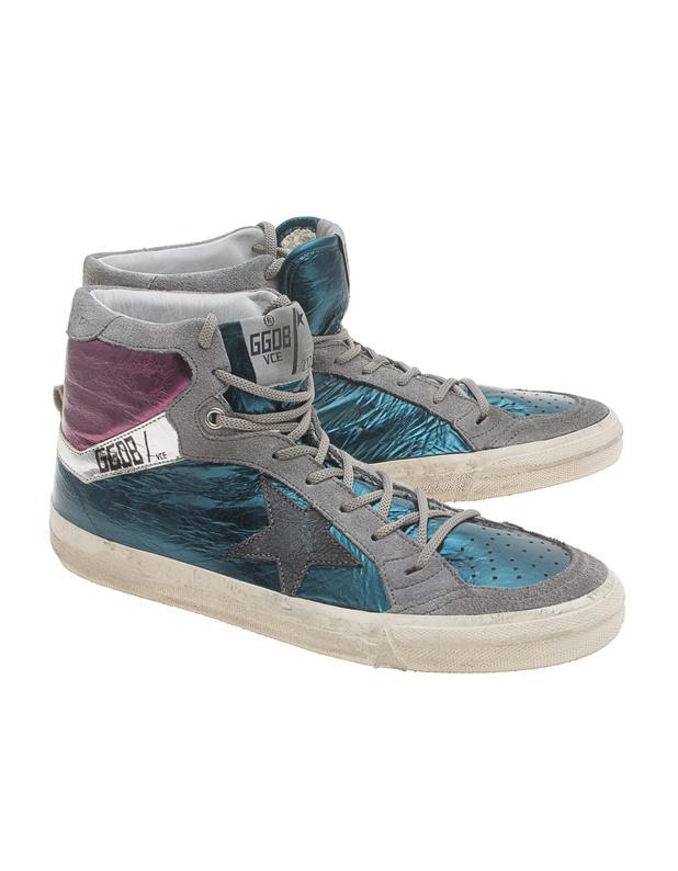 Artikel klicken und genauer betrachten! - Hohe Metallic-Sneakers Hohe Leder-Sneakers im mehrfarbigen beschichteten Metallic-Used-Look mit grauen Leder-Elementen, grauen Schnürsenkeln und Label-Schriftzug.  Lässig-sportlich-cool für die neue Saison! | im Online Shop kaufen