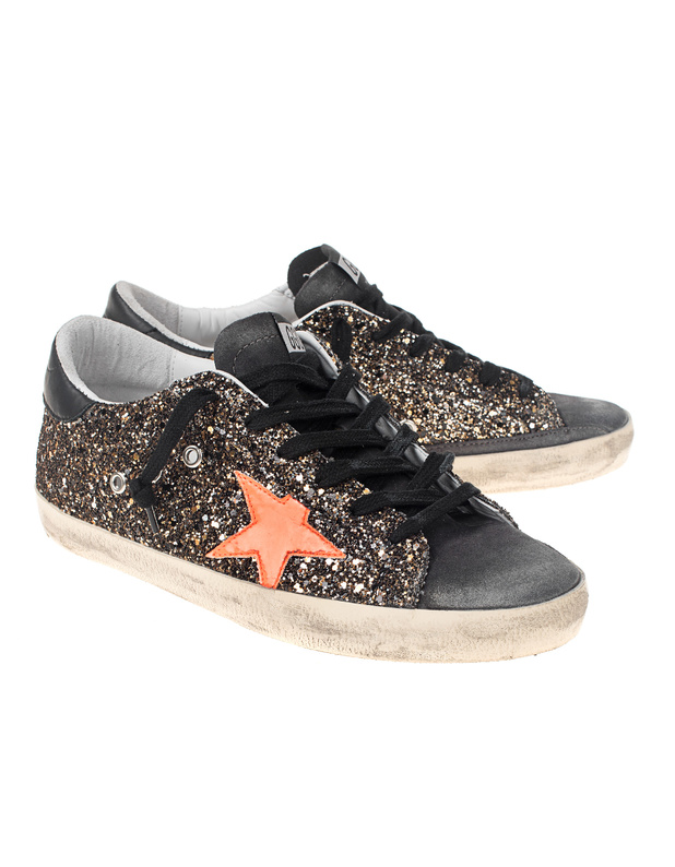 golden goose deluxe brand leder sneaker mit glitzer finish. Black Bedroom Furniture Sets. Home Design Ideas