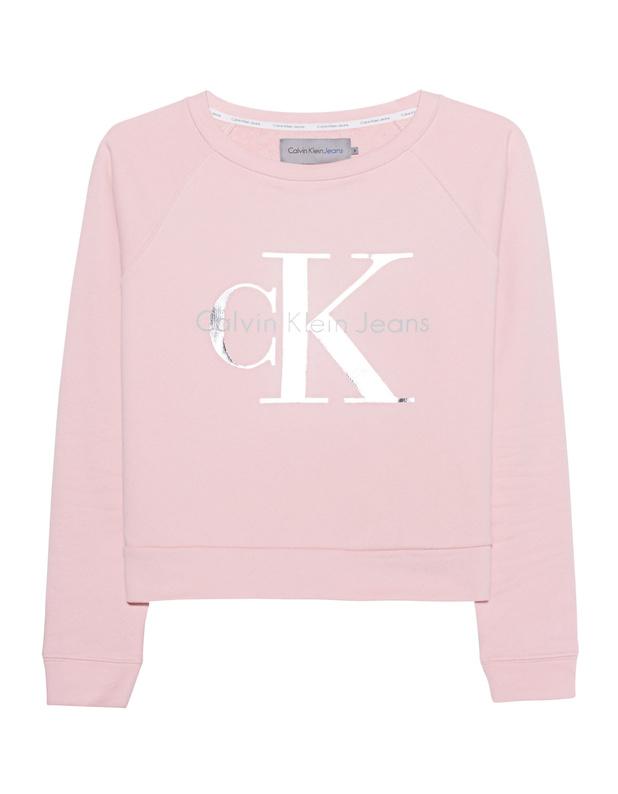 Artikel klicken und genauer betrachten! - Baumwoll-Sweatshirt mit Logo Rosafarbenes, gerade geschnittenes Sweatshirt aus purer Baumwolle mit charakteristischem, silberfarbenem Logo-Print auf der Front in klassischer Ausstattung mit gerippten Bündchen, Raglan-Ärmeln und Rundhalsausschnitt.  Absolut im Trend - ein Must-Have für Fashionistas! | im Online Shop kaufen