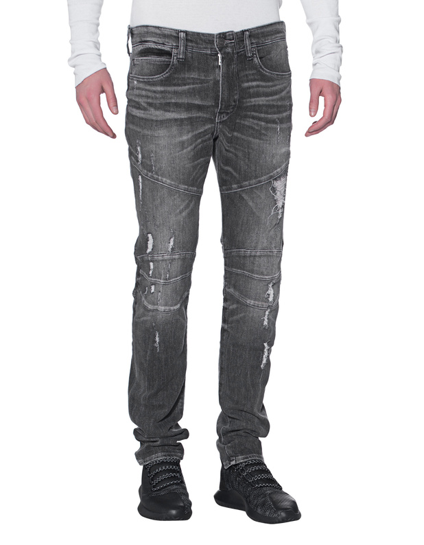 TRUE RELIGION Rocco Biker Grey Rebel Destroyed straight leg jeans ...