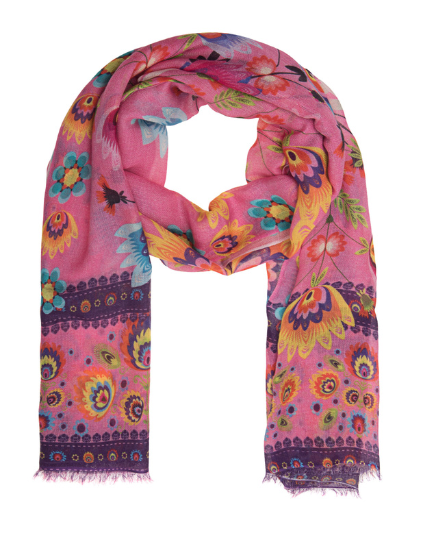 Artikel klicken und genauer betrachten! - Kaschmir-Seiden-Schal Der pinke Schal aus einem soften Kaschmir-Seiden-Mix kommt mit farbenfrohem all-over Blumen-Print.  Verleiht jedem Look das gewisse Etwas!   im Online Shop kaufen