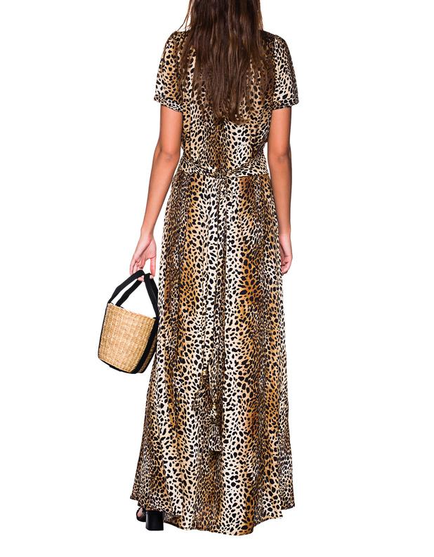 21369c792c7653 Melissa OdabashLou Leo Beige    Maxi dress in leo pattern