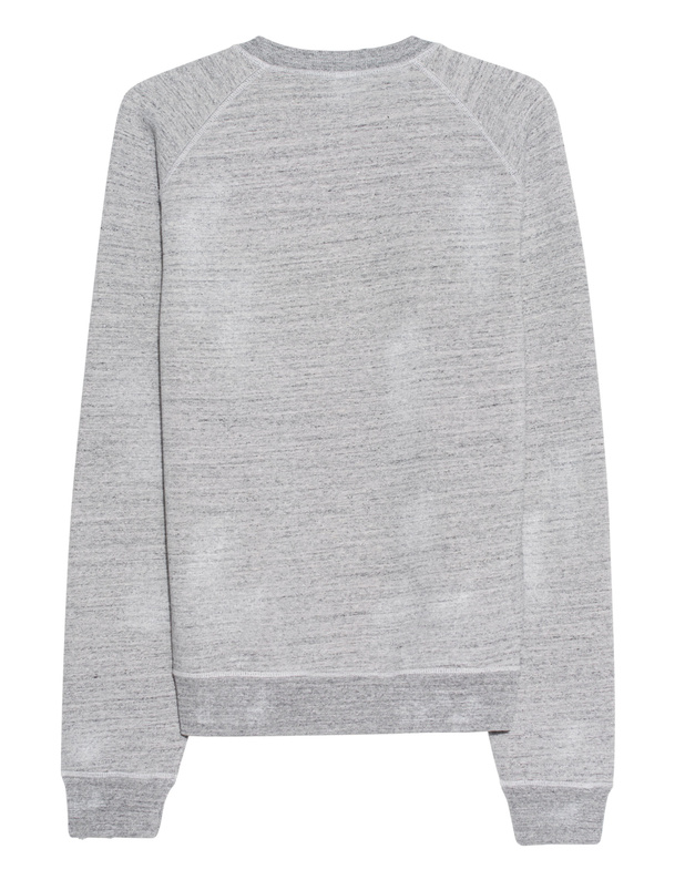 DSQUARED2 XXXL Heather Grey Cotton sweater with logo emblem - Sweaters