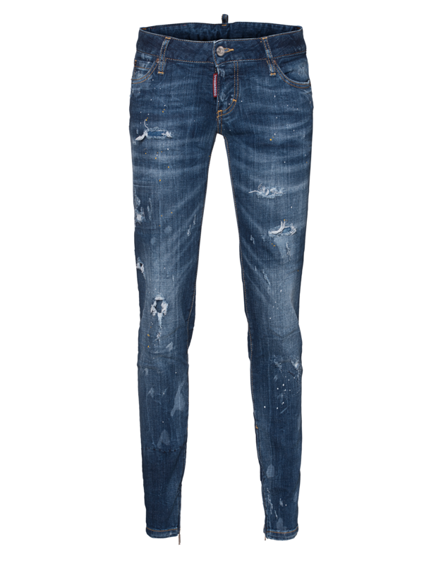 Skinny Jean Short Crotch Dark Blue
