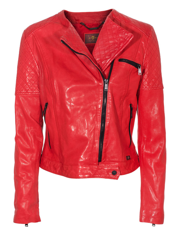 SEVEN FOR ALL MANKIND Motorcycle Leat Flam Red