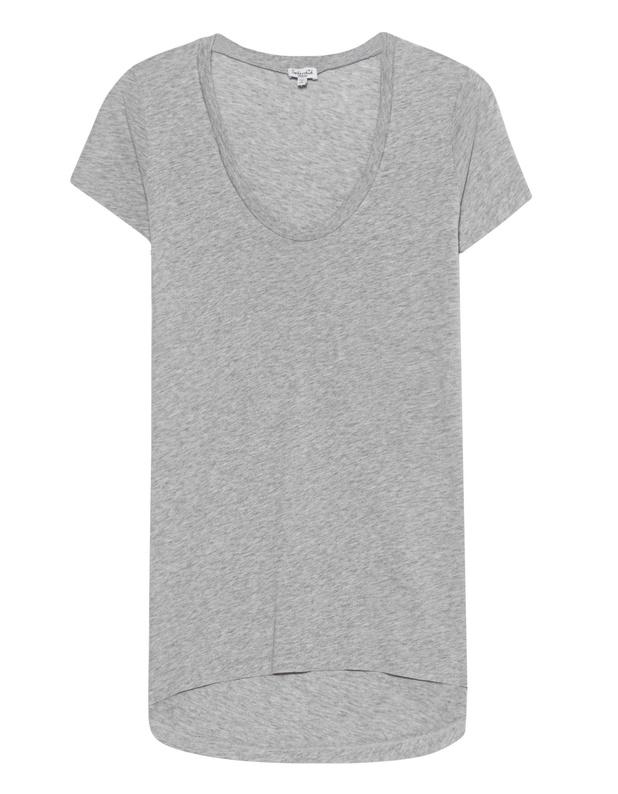 Artikel klicken und genauer betrachten! - Lockeres Jersey-T-Shirt Beste Basics zum Wohlfühlen von Splendid!  Locker geschnittenes hellgrau meliertes Jersey T-Shirt  aus einem weichen Supima-Baumwoll-Modal-Mix mit Scoop-Ausschnitt.  Passt zu entspannten Daily-Looks! | im Online Shop kaufen